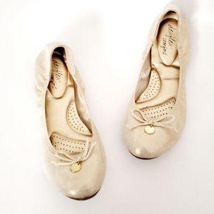 Dexflex Comfort Gold Metallic Round Ballet Flats